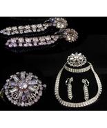 "Vintage Rhinestone parure - deco silver necklace - 14"" choker - 2"" chand... - $135.00"