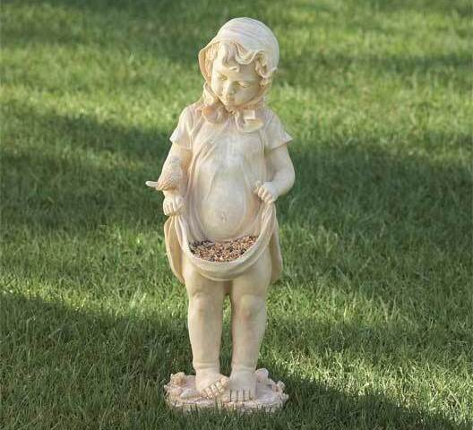 Girl Statue with Apron Bird Feeder