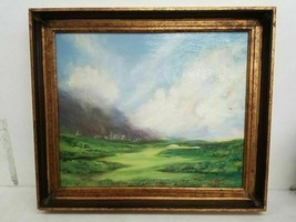 "Signed M. Pearson Oil Painting""City Beyond the Green"" Framed  28 x 24 - $340.93"