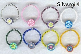 Set of 8 Colorful Hand Created Flower Beaded Glass Charms - $9.99