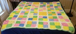 """VINTAGE Granny Square Afghan Throw Blanket Bright 55x58"""" Cottage Core - $98.01"""