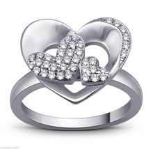 Heart Design 925 Sterling Silver Ring With Pave Pave Set Cubic Zirconia ... - $35.14
