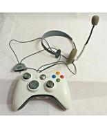 Wireless WHITE Game Controller Gamepad Joystick Microsoft Xbox 360 MIC H... - $0.98