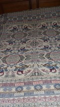 VINTAGE EGYPTIAN TAPESTRY FLORAL HORSES RIDERS DESIGN TABLECLOTH BED THR... - $29.41