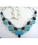 3 Blues Chalcedony and Lapis with Faceted Topaz... - $358.08