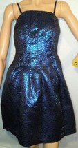Romeo + Juliet Couture Blue Metallic Mosaic Textured Party Clubbing Dres... - $14.82