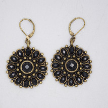 premier designs jewelry vintage gold tone hoop drop dangle flower earrings - $36.00