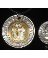 Egyptian Egypt Gold Silver Tone King Tut Sphinx Coin Pendant Charm Necklace - $7.91