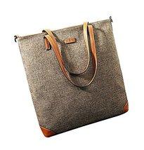 Smart Casual Canvas Tote Handbag Shoulder Bag Messenger Bag Gray Coffee