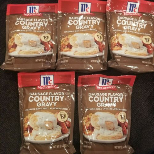 Primary image for 5 Packages McCormick Sausage Flavor Country Gravy 2.64 oz ea Best By Aug 2022