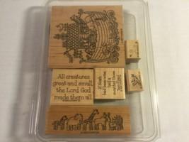 "Stampin' Up 1999 ""Noah & CO."" Set Of 6 Wood Block Stamps, Noah's Ark - $22.75"