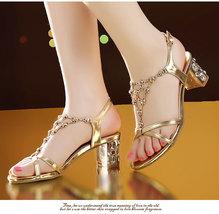 93s005 Lady's sweet rhinestone slang sandals, size 4-9, gold - $42.80
