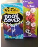 Lot of Super Stretchy Football Sport Bookcover and 12 Sports Themed Eras... - $4.99