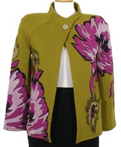ST. JOHN Olive Wool Blend Knit Chrysanthemum Floral Jacket 2 Green NEW - $499.99