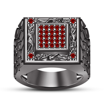 Black Gold Finish 925 Silver Red Garnet Men's SPL Kamasutra Ring Free Shipping - $138.60