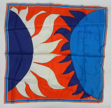Vera Scarf Blue White Orange Pop Art Geometric Square Shape - $39.59