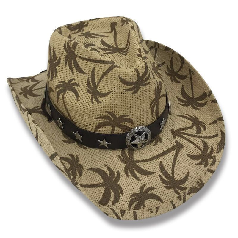 257cac4ab95 ... Cowboy Cowgirl Hat Palm Trees Rodeo Western One Size West Band And Star  Concho
