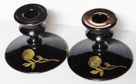 Westmoreland Black Glass - Candlestick Candleholdersl - GOLD Octavia Rose - $34.57