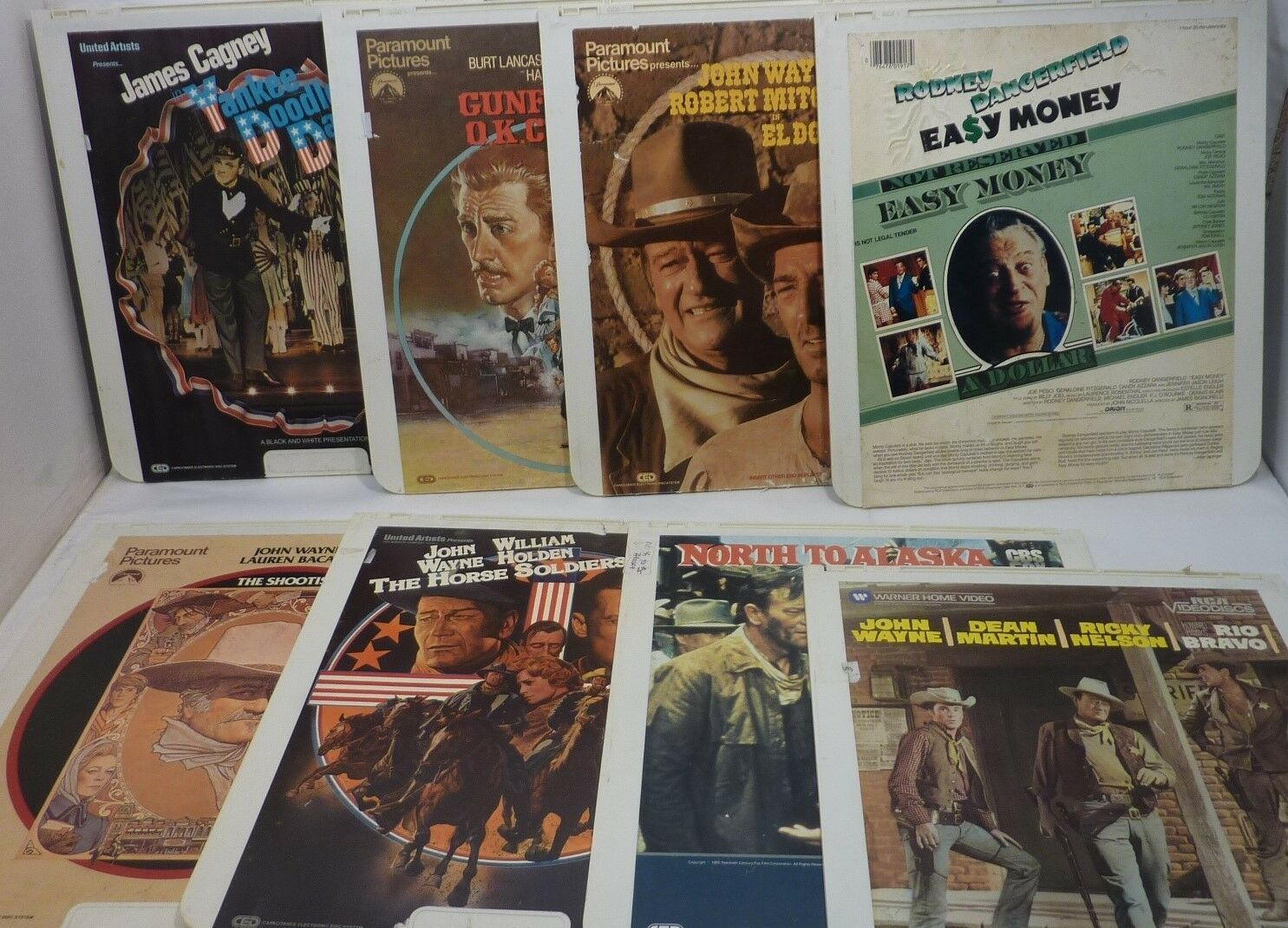 Vintage Movie Lot of 9 RCA SelectaVision CED VideoDiscs John Wayne, Dangerfield