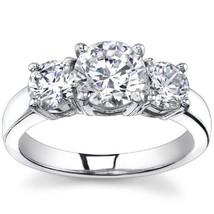1.05CT Forever One DEF Moissanite 4 Prong 3-Stone Ring 14K White Gold - €613,88 EUR