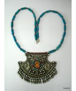 Vintage Silver Necklace Painting Pendant handmade traditional jewelry - $395.01