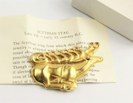 90's VINTAGE ESTATE MUSEUM Jewelry SCYTHIAN STAG BROOCH PAPERS & BOX PRI... - $35.00