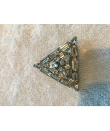 Vintage marked WEISS brooch pin 2 inch Mid century 1950s Rhinestone clear - $147.50