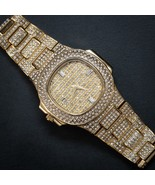 Mens 14K GP Fully Iced Out Diamond Gold Watch - $42.49