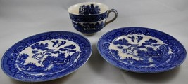 Vintage Blue Willow Cup with 2 Dessert Plates Made in Occupied Japan - $9.90