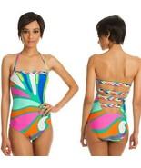 Trina Turk Tropicalia Multi Print Bandeau Strappy Back One Piece Swimsui... - $103.50