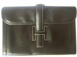 90's vintage HERMES jige, document case, dark brown portfolio purse. Classic and - $1,220.00
