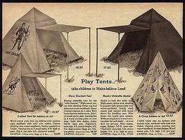 DAVY CROCKETT Indian Circus Umbrella Play Tents 1959 AD Western Toy Grap... - $18.99