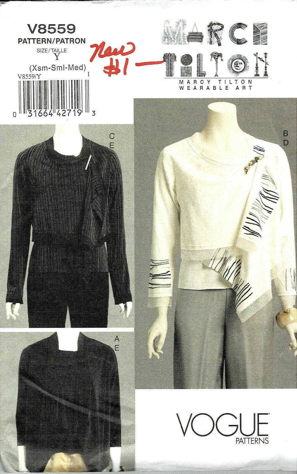 Primary image for Vogue Pattern V8559 Misses Jacket and Top Sizes XSM-SML-MED Uncut FF 2009