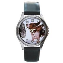 Basset Hound Unisex Round Metal Watch Gift mode... - $13.99