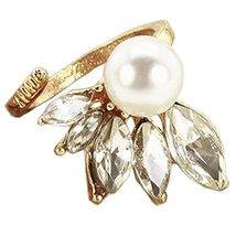 2Pcs Lovely Rhinestone Fingernail Ring Fake Nails Art Charm Cap Cover, Golden