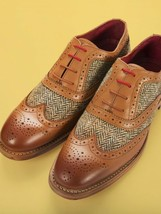 Handmade Men's Brown Leather & Tweed Wing Tip Brogues Dress/Formal Oxford Shoes image 4