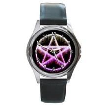 Fire Pentagram Unisex Round Metal Watch Gift model 38051446 - £10.22 GBP