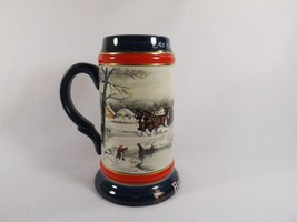 Budweiser Red White & Blue Holiday 1990 Clydesdale Beer Stein American Tradition - $19.95
