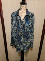 Notations Blue & Black Madras Designed Long Sleeve Button Down Blouse Si... - $22.00