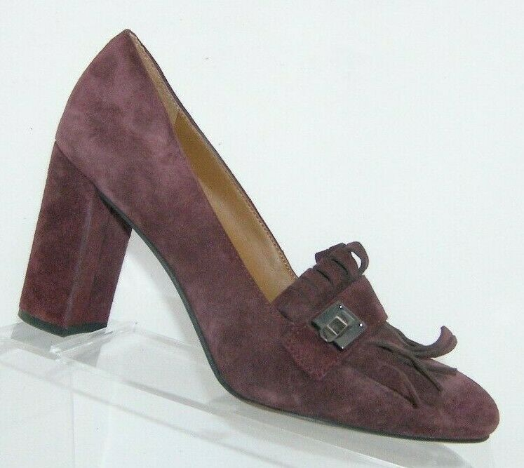 Franco Sarto 'Ainsley' purple suede buckle kiltie slip on block heels 7.5M