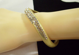 MARLYN SCHIFF Pave Rhinestone MATTE GOLD Plate WAVY Curved Bangle Bracelet  - $15.83
