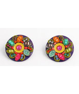 Signed ADAYA Maya Micro Mosaic Clip On Earrings - $56.00