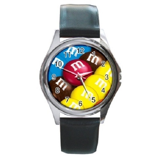 MM Chocolate Candies Unisex Round Metal Watch Gift model 16970948