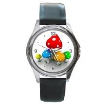 Mushroom Mush Unisex Round Metal Watch Gift model 16397215 - $13.99