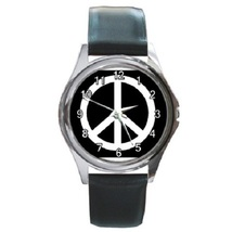 Peace Sign Unisex Round Metal Watch Gift model 17660249 - $13.99