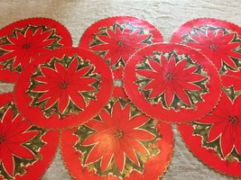 8 Vintage Round Paper Placemats Poinsettia Red Placemat Place Mat Mats 2... - $40.05