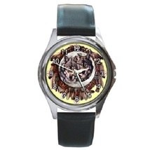 Wolf Dreamcatche Unisex Round Metal Watch Gift model 17496251 - $13.99