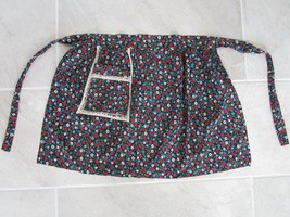 Vintage Child's Apron Black Floral Cotton with front pocket - $9.99
