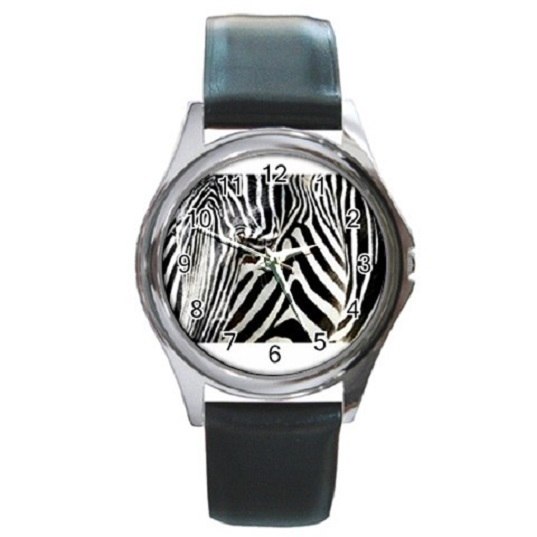 Zebra At The Frankfurt Zoo Poster Unisex Round Metal Watch Gift mode 16554835