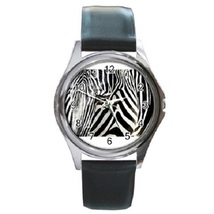 Zebra At The Frankfurt Zoo Poster Unisex Round Metal Watch Gift mode 16554835 - $13.99